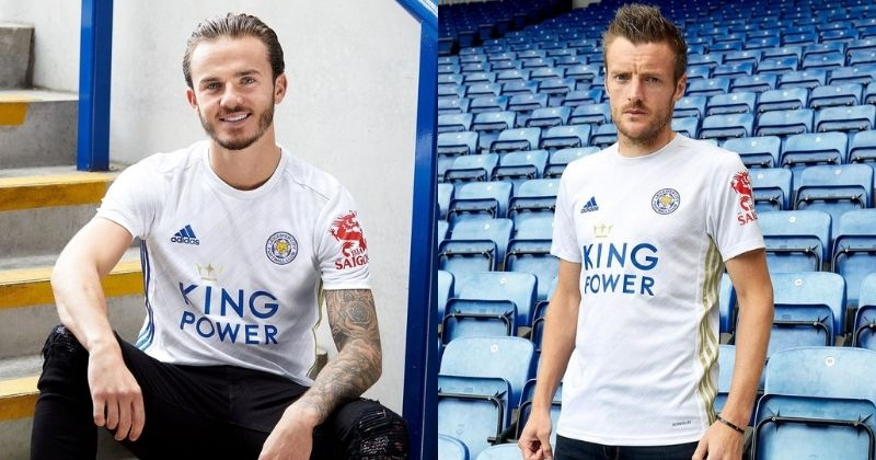 leicester 2020-21 away kit worn by maddison and vardy