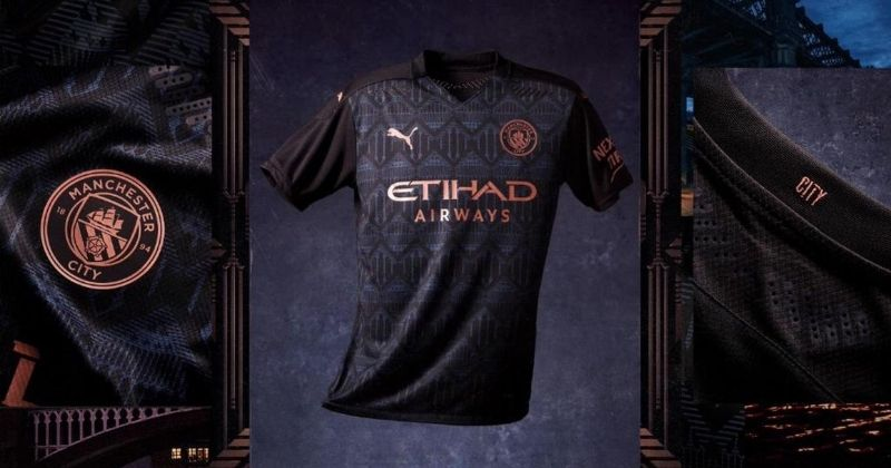 man city 2020-21 away kit in black and bronze