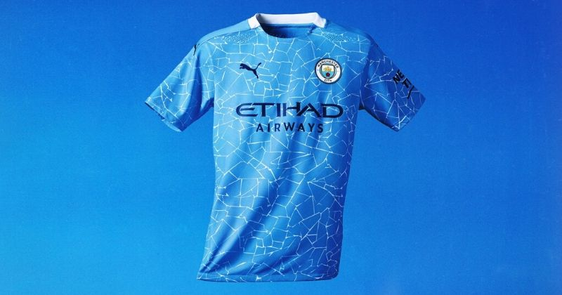 manchester city 2020-21 home shirt with mosaic style pattern