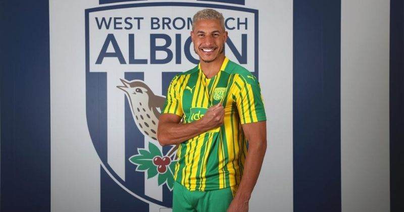 west brom 2020-21 yellow and green away kit worn by jake livermore
