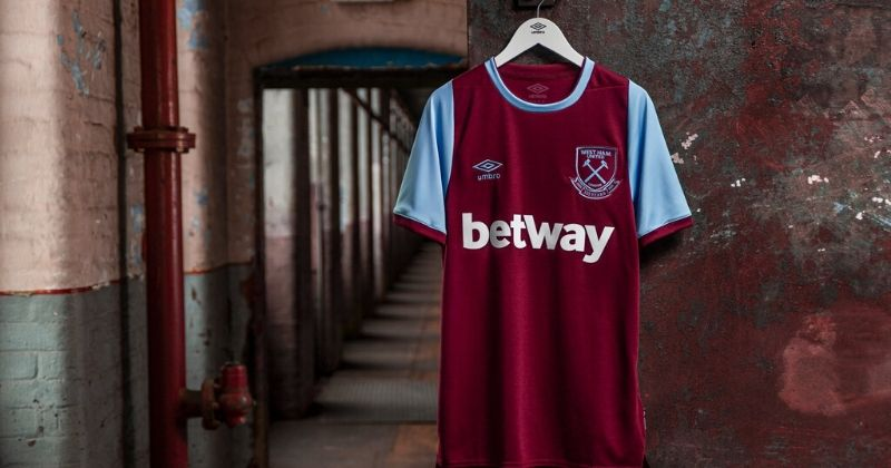 west ham 2020-21 home kit hung up on display