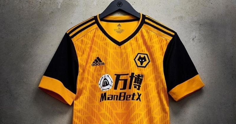 wolves 2020-21 home kit hung up on display