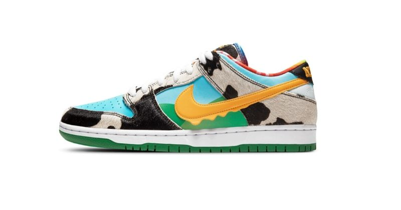 Nike x Ben and Jerrys SB Dunks Chunky Dunky in pastel colours on white background