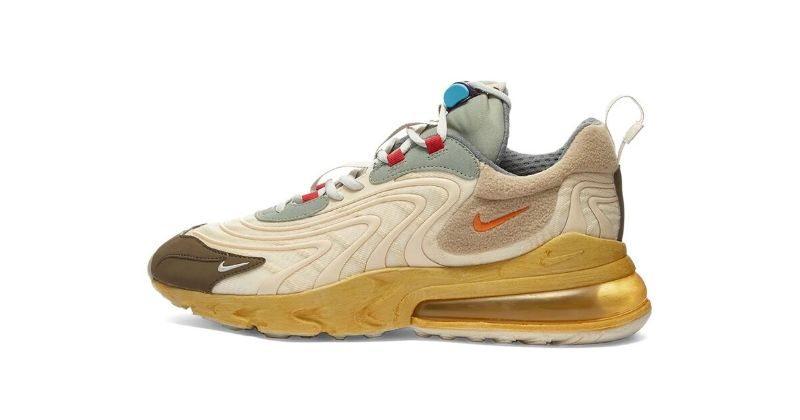 Nike x Travis Scott Air Max 270 React Cactus Trails in beige sand on white background