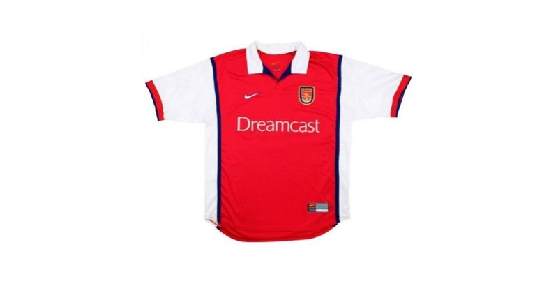 classic arsenal home shirt with dreamcast sponsor