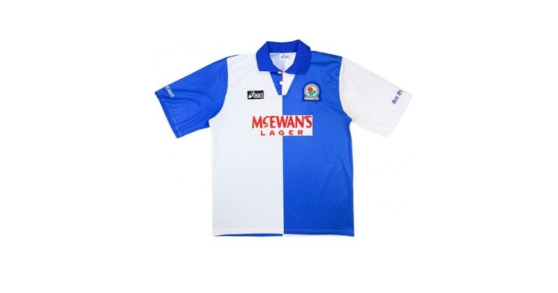 blackburn rovers home shirt with red mcewans lager sponsor