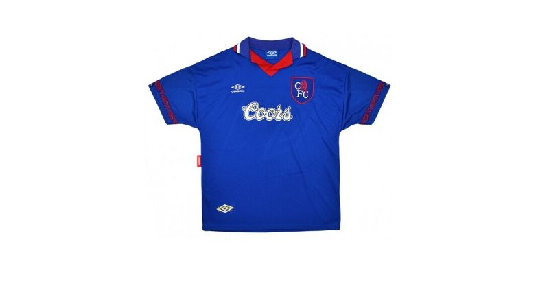 blue chelsea home shirt with coors