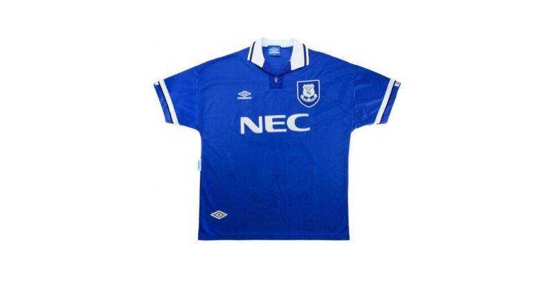 blue everton home shirt with classic nec sponsor