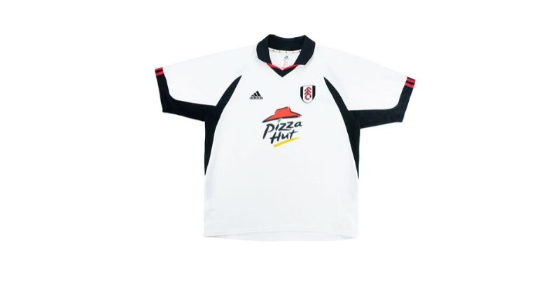 fulham home shirt with pizza hut sponsor