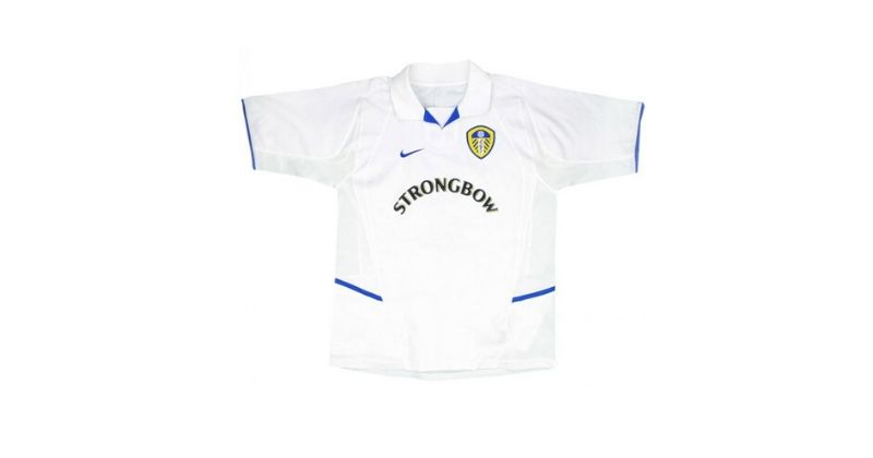 white leeds united home shirt with strongbow sponsor