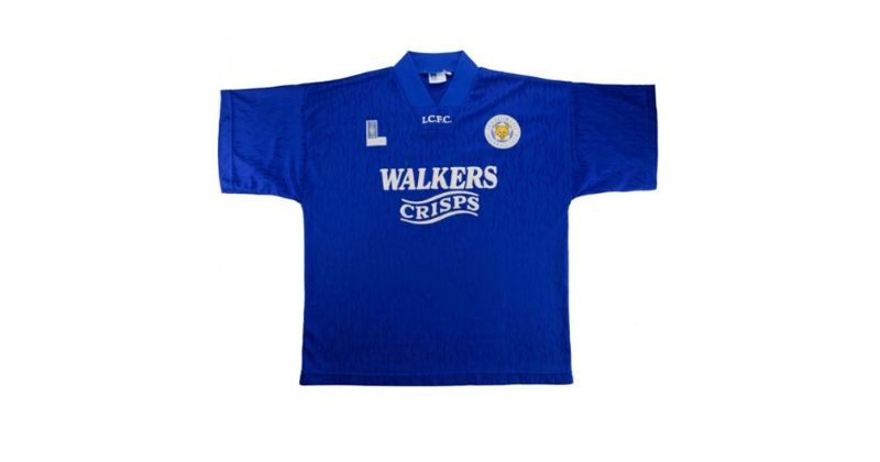 blue leicester city home shirt with old walkers sponsor logo