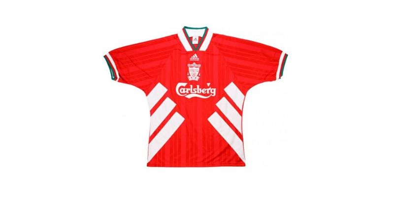 red 1995 liverpool home shirt with carlsberg sponsor