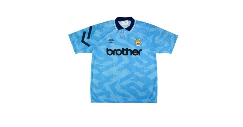 blue 1993 man city home shirt with brother sponsor