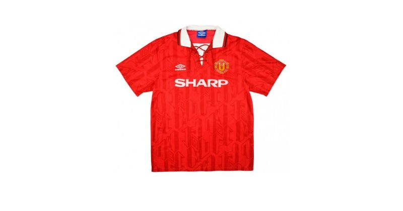 manchester united 1992 home shirt with sharp sponsor