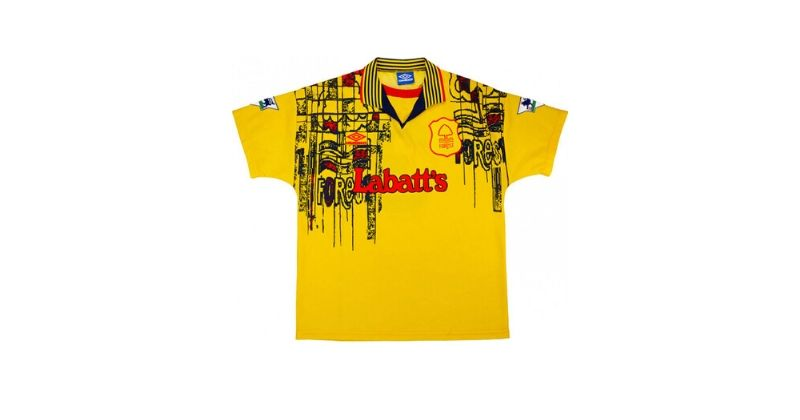 yellow nottingham forest away shirt with labatts sponsor