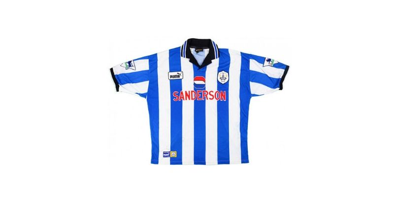 sheffield wednesday home shirt with sanderson sponsor
