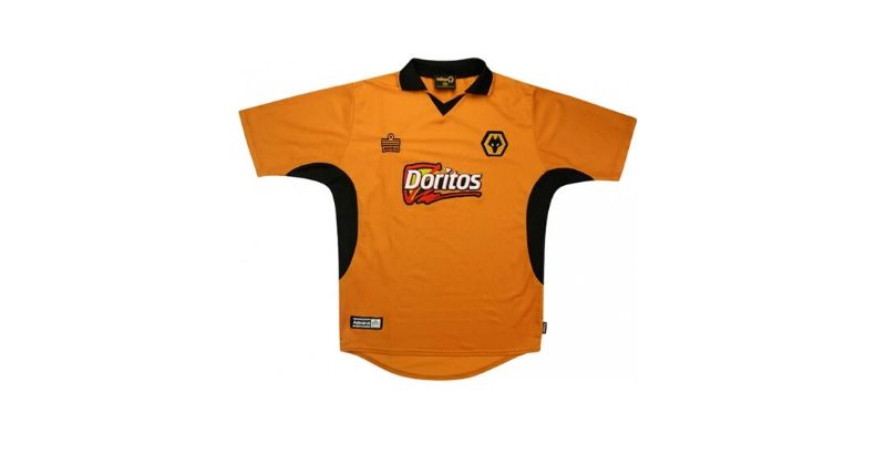 gold wolves home shirt with doritos sponsor