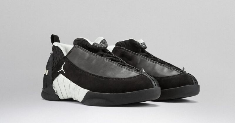 1999-2000 Nike Air Jordan 15 in black with low top and white sole detail on light background