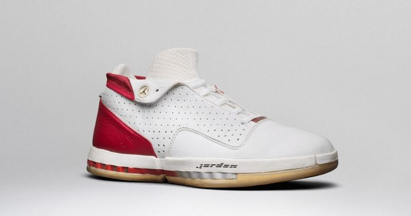 2001 Nike Air Jordan 16 in white with red heel and Jordan wording on light background