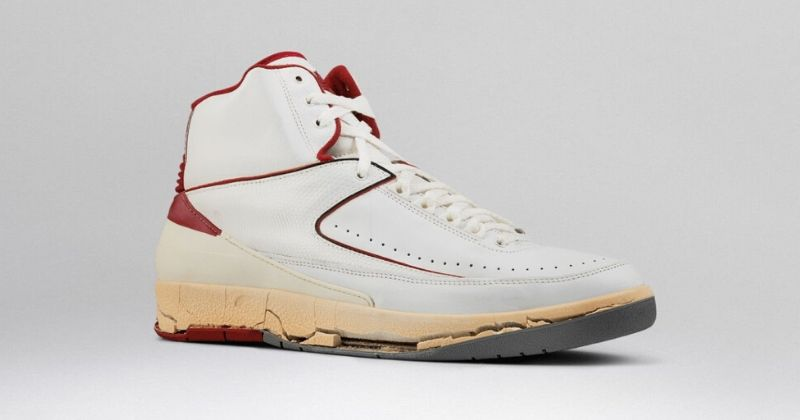 1986-87 Nike Air Jordan 2 in white with red detail on light background