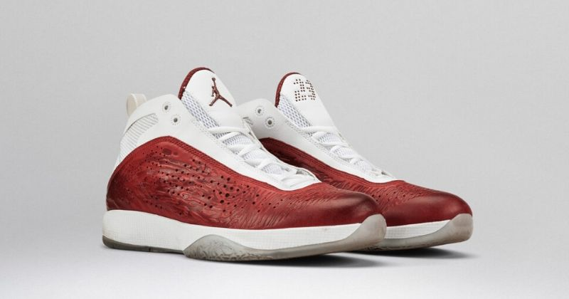 2011 Nike Air Jordan 26 2011 in red and white leather and white sole on light background
