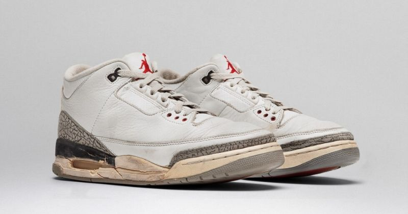 1988 Nike Air Jordan 3 in white with air bubble and grey detail on light background