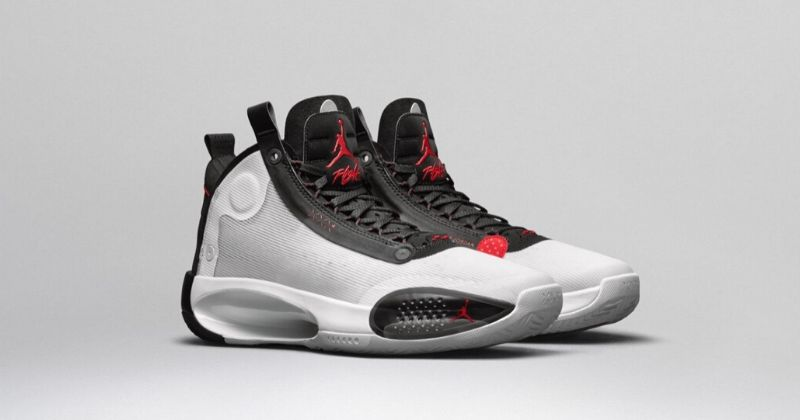2019 Nike Air Jordan 34 in white with black detail and red Jumpman logos on light background