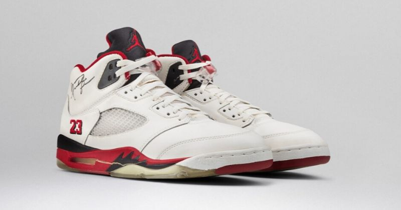 1990-91 Nike Air Jordan 5 in white red and black with 23 on upper on light background