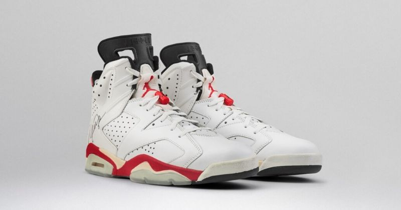1991 Nike Air Jordan 6 in white with red and black detail on light background