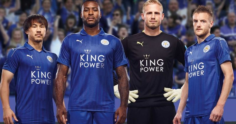 blue leicester home kit worn by jamie vardy and other players from 2016