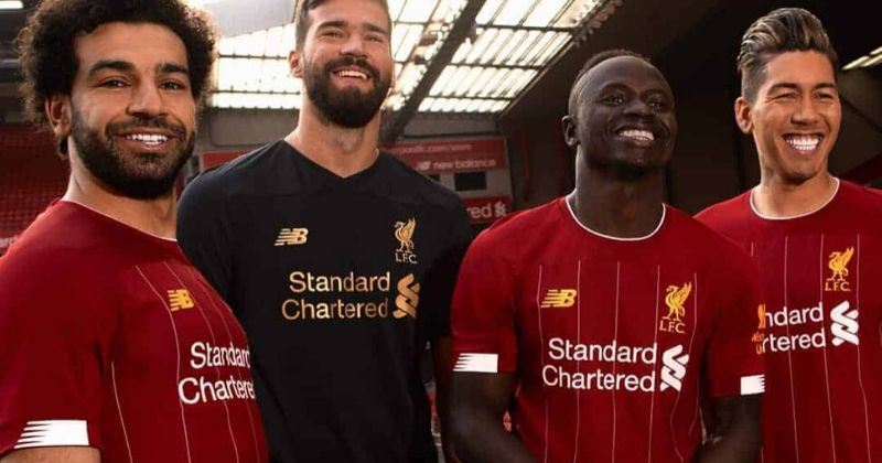 red liverpool home shirt worn by salah, mane and firmino