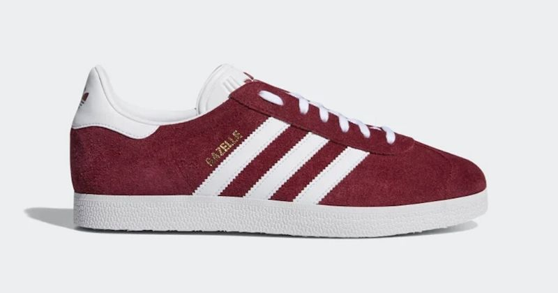 adidas Gazelle in red and white on light grey background
