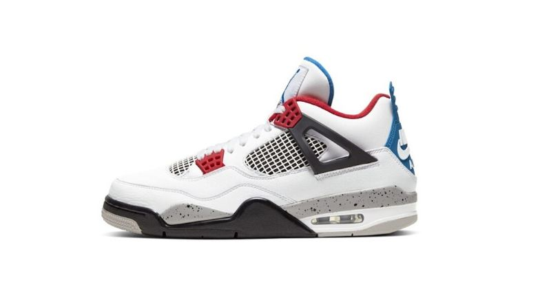 Nike Air Jordan IV 4 in white with black grey and red detail on white background