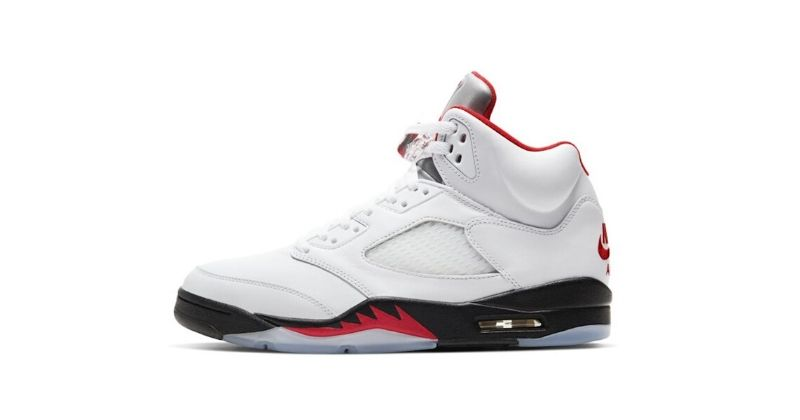 Nike Air Jordan V 5 in white black and red on white background