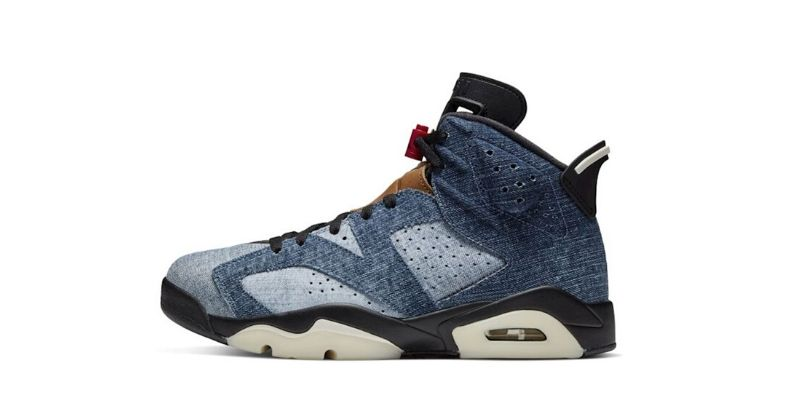Nike Air Jordan VI 6 in denim on white background