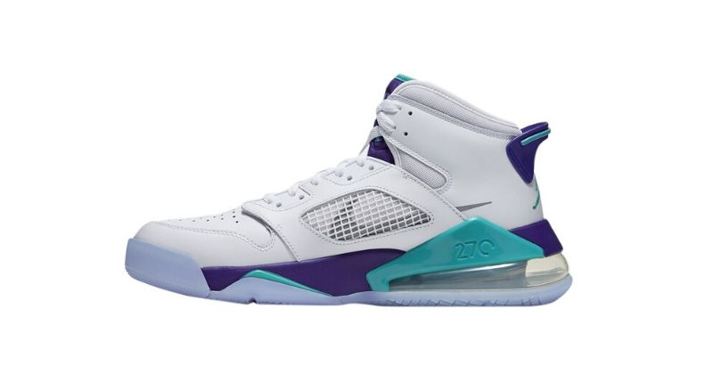 Nike Air Jordan Mars 270 in white with light blue and purple on white background