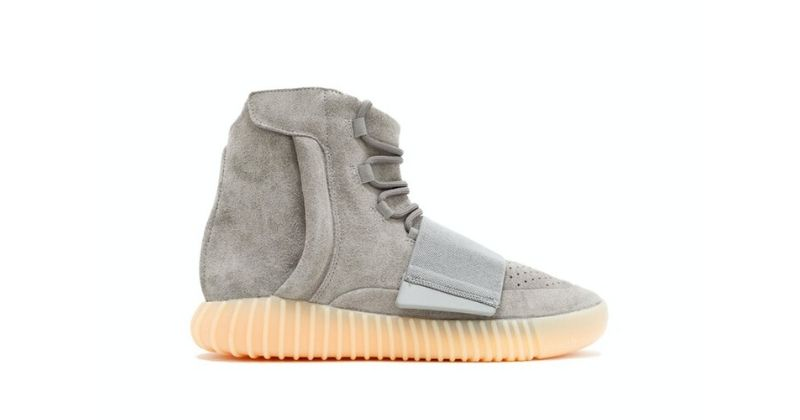 adidas Yeezy Boost 750 in grey and glow in the dark sole on white background
