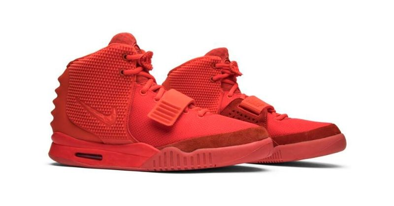 Nike Air Yeezy 2 Red October in red on white background