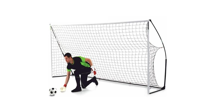 kickster academy goal posts guarded by a goalkeeper