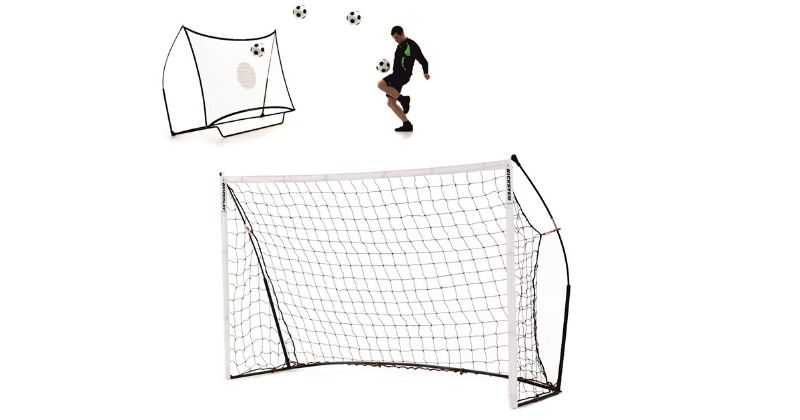 kickster academy goalposts with additional rebounder for skill training