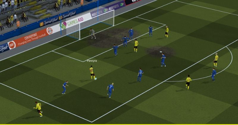 screenshot of the 3D match engine used n FM20 on PC