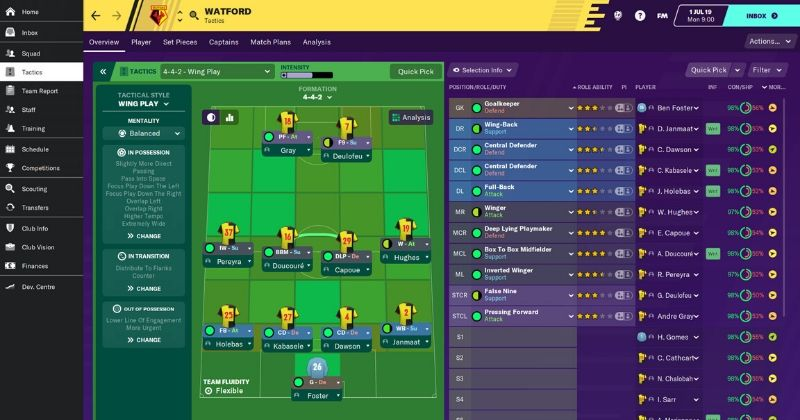 screenshot of watford tactics on fm20 touch