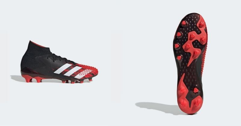 red adidas predator mutator boots with rubber soleplate for artificial grass
