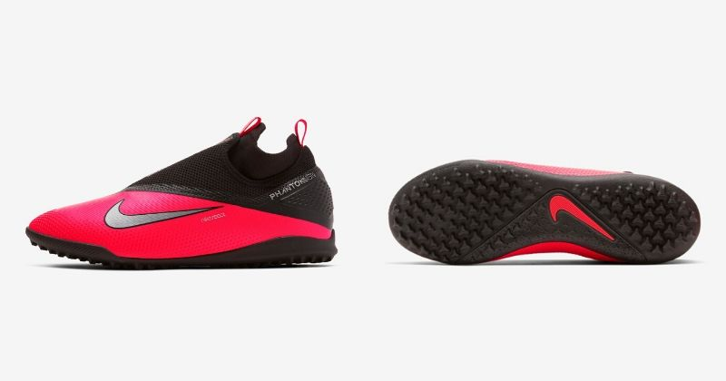 red nike phantom vsn 2 turf trainers with rubber soleplate