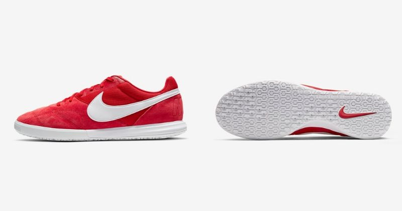red nike premier sala 2 indoor football trainers with flat rubber sole