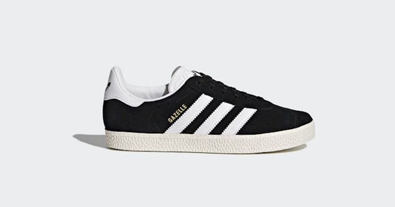 kids adidas gazele trainers in black and white