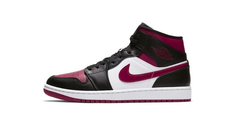 Nike Air Jordan 1 mid shoe mens in purple white and black