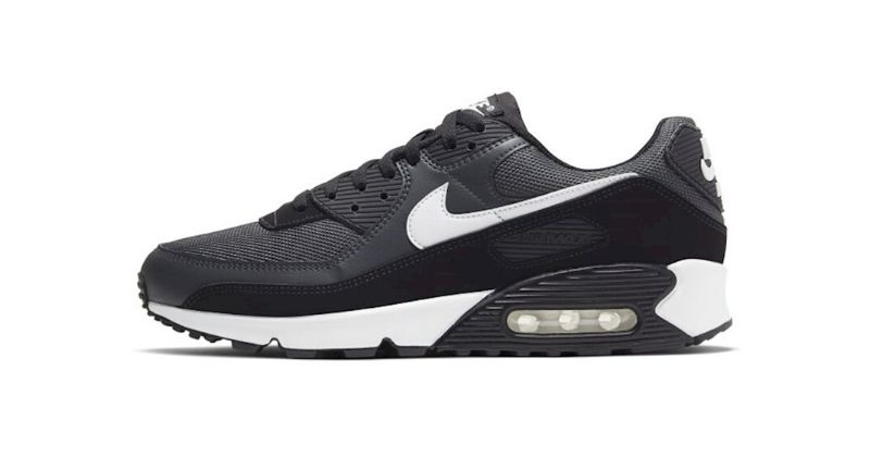 Nike Air Max 90 trainer in black with white sole and white swoosh