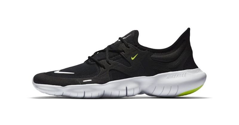 Nike Free RN 5.0 mens trainer in black with white sole