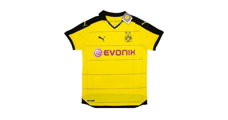 yellow and black borussia dortmund home shirt with evonik sponsor